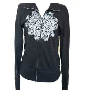Prana Black Mandala Lightweight Sweatshirt Medium